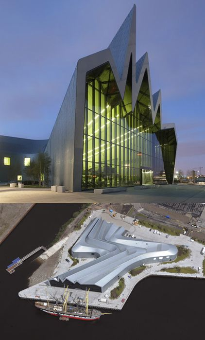 Glasgow, Scotland - The Riverside Museum and it's fantastic architecture (with fantastic aerial view)