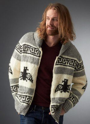 Men's Nordic Cardigan - bulky yarn, eagle and fair isle motifs for this big cardigan (size XS/4XL) (US11/8mm.)