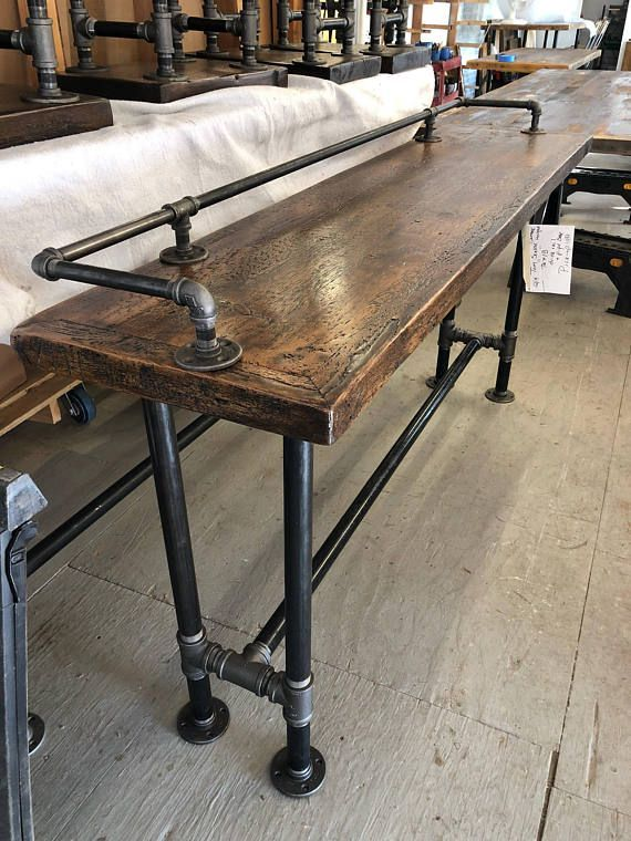 how to make a sofa table top sofas italianos europolis reclaimed wood bar man cave console media stools available foe sale but not included this includes drink rail style has dark brown