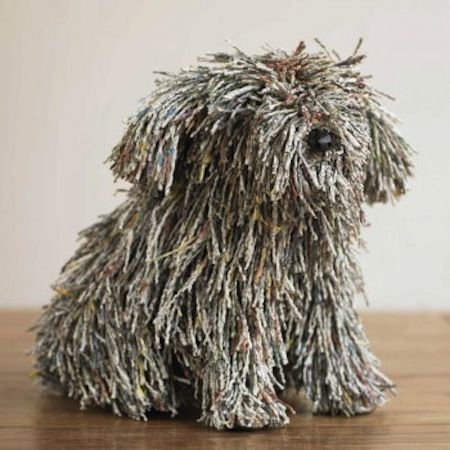 If this dog made of recycled newspapers wasn't inspired by Shubie, I'd be shocked!