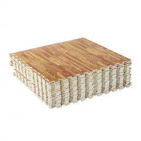 Soozier 72 Sq Ft Interlocking Puzzle Foam Floor Tile Mats - Wood Grain
