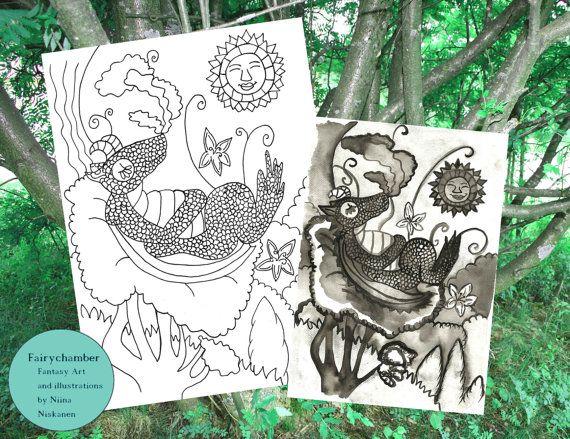 Dragon's visit Digital Stamp Instant Download Coloring page Art for children Printable Coloring Page Printable Dragon Art by Niina Niskanen