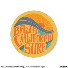 Shop Baja California Surf Vintage Sticker Created By KrookedEyeDesigns