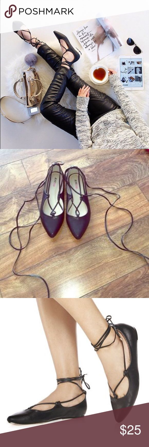Trendy just fab Black lace up ballerina flats Brand new never worn, black lace up flats. No box. True to size 7 JustFab Shoes Flats & Loafers