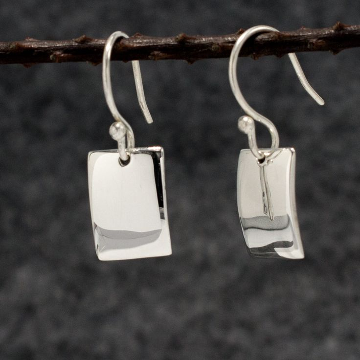 Petite Concave Rectangle Earrings - High Polished Silver - French Wire