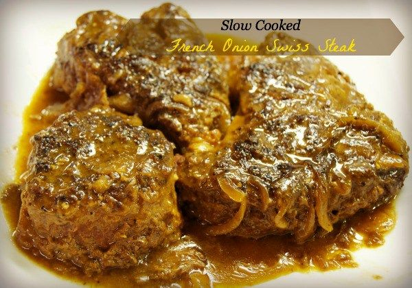 Want a change for the age old Swiss Steak recipe? Try this creamier French onion soup inspired slow cooker Swiss Steak recipe.