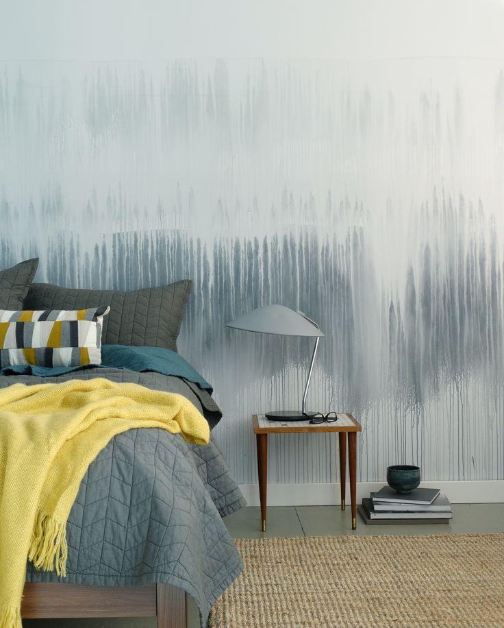 Colorhouse DIY Watercolor Wall - drip technique in a blue bedroom