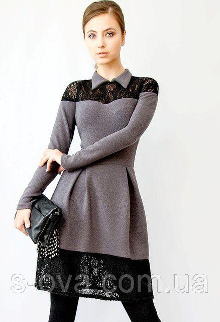 Теплое трикотажное платье зима., фото 1