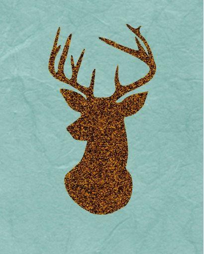 Hirsch Geweih Kunstdruck Silhouette Gold von PrintableMotivation