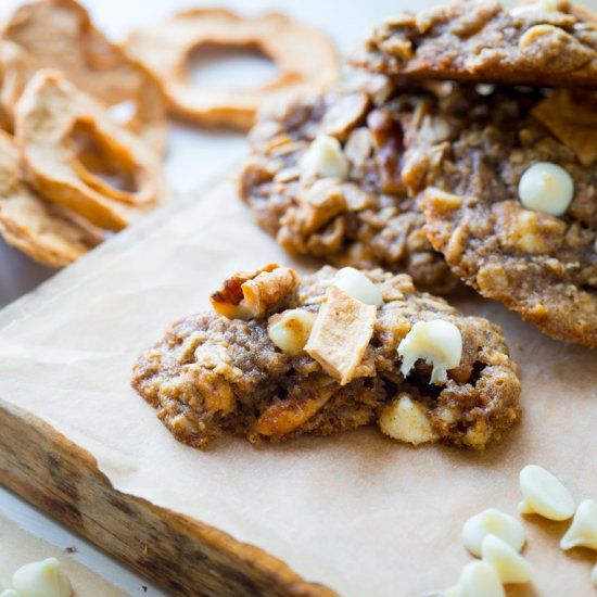 Chewy Oatmeal cookies, with white chocolate chips, walnuts and chunks of dried apple rings added in for a fall twist!