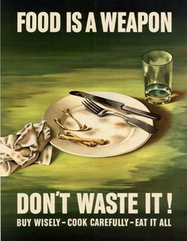 This is a propaganda poster from the great depression. It is a credible source because it is taken from the time period. It tells us that food was scarce during this time period and people were being very cautious of what they were buying and eating so they wouldn't waste any.