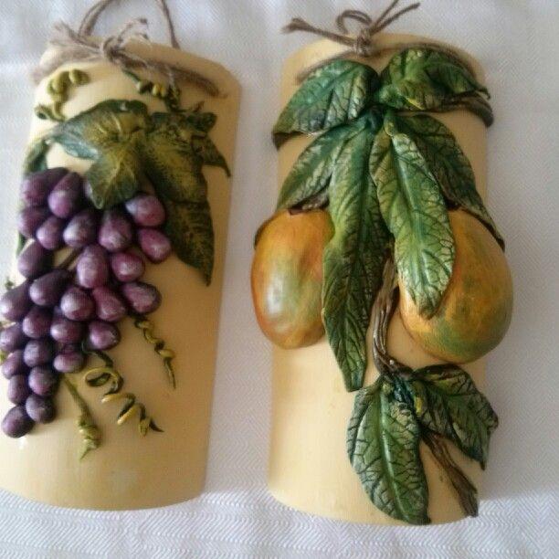Tejas decorativas elaboradas con frutad en porcelana fria