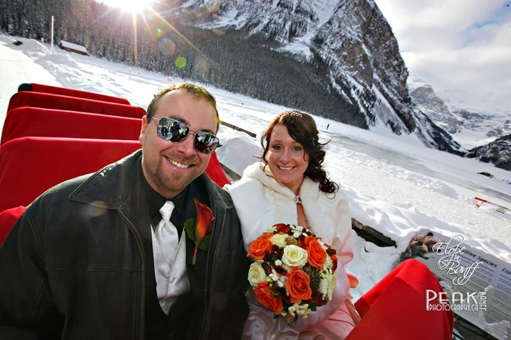 Rosie & Brad / Dec 12/12 / Sleigh Ride, Lake Louise Alberta / Photography by Malcolm Carmichael - Peak Photography