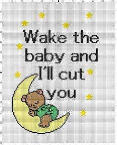 Wake the Baby and I'll Cut You - Subversive Funny Modern Cross Stitch Pattern - New Baby Stitch - Instant Download by SnarkyArtCompany on Etsy