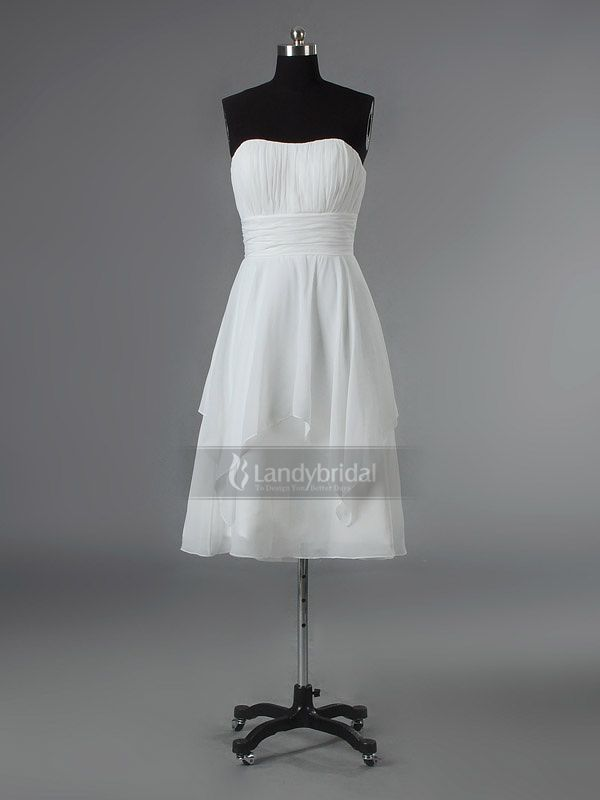 Strapless Tea Length White Bridesmaid Dress Bblbnb2230