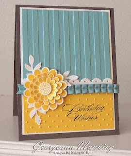 Birthday Wishes: Colors Combos, Embossing Folder, Cards Ideas, Birthday Cards, Birthday Wish, Diy Gifts, Colour Combos, Flower, Stampin Up Cards