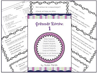 $5.00   3rd Grade Grapevine:   Susan Hardin's Grammar Review 1 Task Cards -  TASK CARDS that are perfect for testing review or literacy centers.       Practice identifying the following:  Simple Subjects and Predicates, Compound Subjects and Predicates, Complete Subjects and Predicates, Sentences and non-sentences, and Compound Sentences