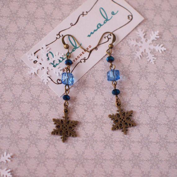 Bronze snowflakes earrings Blue crystal beads earrings Winter earrings Xmas jewelry Winter holiday gift Winter earrings