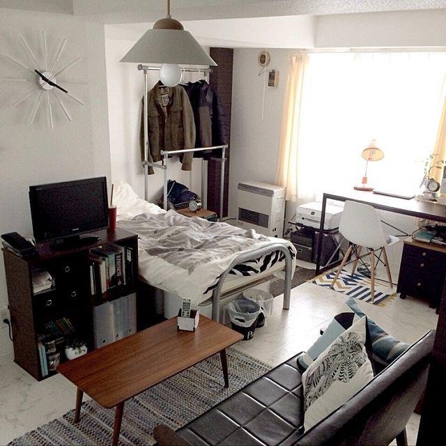 部屋全体 学生一人暮らし 1dk モノトーン 塩系 などのインテリア実例 2016 06 16 13 48 31 Roomclip ルームクリップ インテリアデザイン インテリア 家具 アパートのインテリアデザイン