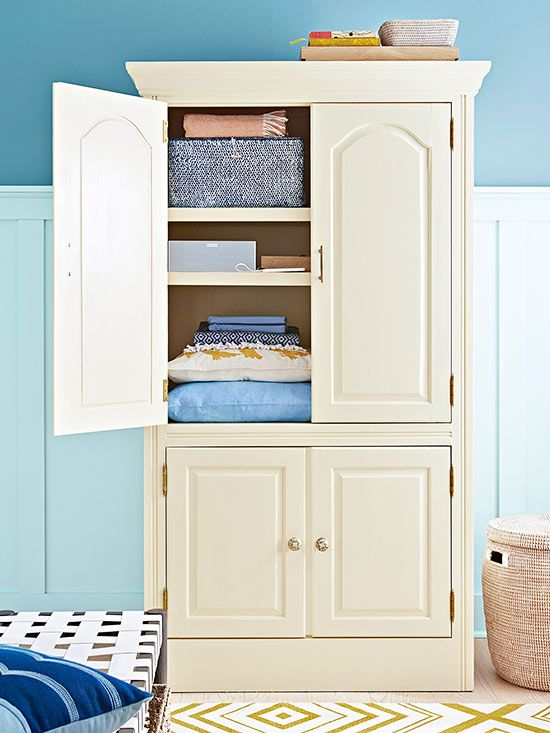 This former TV compartment serves as a great place to store linens: http://www.bhg.com/decorating/makeovers/furniture/fabulous-furniture-makeovers/?socsrc=bhgpin020615versatilearmoire&page=2