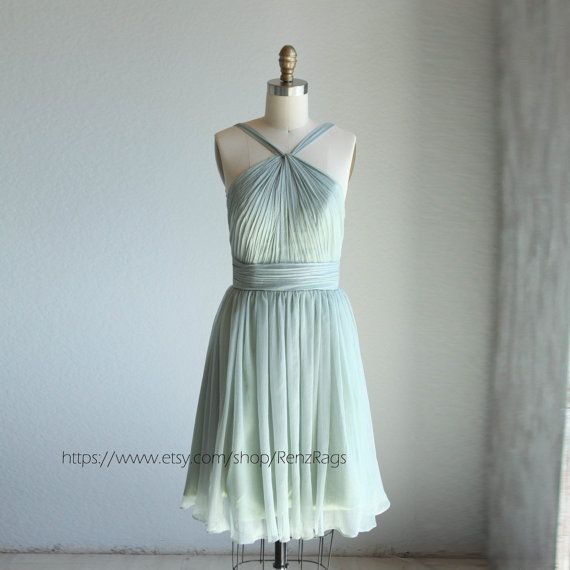 2016 Dusty Shale Bridesmaid dress, a line Halter chiffon Formal dress, Backless Detachable Straps Mint Cocktail dress knee length ( B014A)