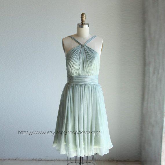 $98 Dusty shale Bridesmaid dress, Halter dress, Wedding dress, Formal dress, Prom dress ( B014)