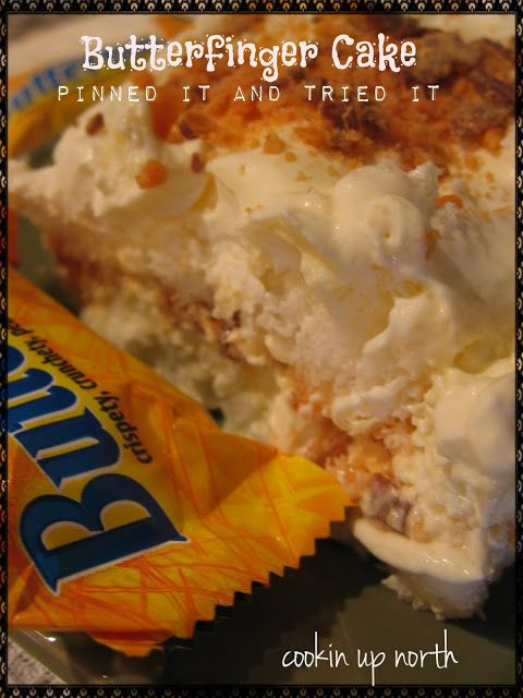 Butter Finger Dessert my kitchen adventures  1 pkg instant vanilla pudding 1 1/2 c milk 1 (8 oz.) tub whipped topping,  1 angel food cake butterfingers, crushed 8 snack size bars  Mix the milk and pudding , beating for 2 minutes until thickened. Fold in the whipped topping. Tear the angel food cake into pieces. Place half in a 9x13 pan. Pour half of the pudding mixture on top. Sprinkle with butterfingers. Repeat. Refrigerate until serving.