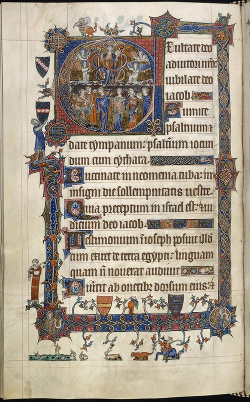 f. 107v:  Historiated initial 'E' of the resurrected Christ with musicians below, and marginal images of musicians and a knight holding arms . Soon after the manuscript's creation it came into the possession of Norwich Cathedral Priory, where an extra miniature, prayers and a litany were added c. 1320-1325 (ff. 7r-7v & ff. 226r-228r).  The original manuscript seems to have been written c. 1310 by a single scribe, who worked in close collaboration with a group of illuminators.