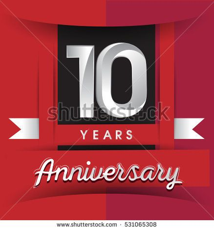 10 years anniversary logo with white ribbon isolated on red background, flat design style, Vector template elements for birthday celebration.