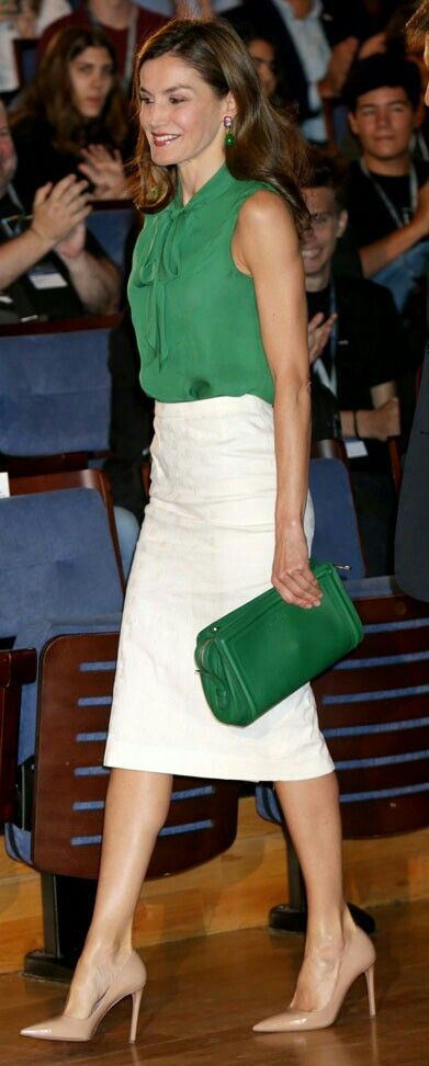 Letizia - green & white - Uterqüe blouse - Hugo Boss bag - Prada pumps - Bounkit earrings
