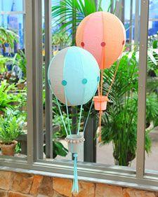 Papier-Mache Hot Air Balloons: Hot Air Balloon, Balloon Decor, Hotair, Balloon Crafts, Paper Mache, Kids Crafts, Martha Stewart, Papier Mache Hot, Baby Shower