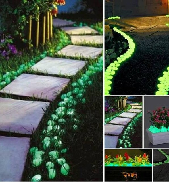 """Make A Glow-In-The-Dark Walkway WHAT YOU NEED: - Rust-Oleum Glow in the Dark Paint - Rocks HOW TO DO IT: - Find/buy rocks that you want to use.  - Clean your rocks! The paint is less likely to stick if it's dirty. - Paint outdoors so the fumes don't stick around your house. - Put a light-average coat of paint on the rocks of your choice. - Place your rocks and enjoy! You will never have to repaint them either. The UV rays from the sun """"charge"""" the glow."""