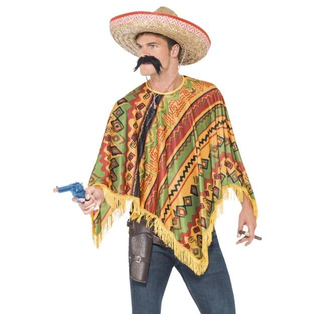 Adult Ladies Rainbow Multi Mexican Cowboy Poncho Fancy Dress Costume Accessory