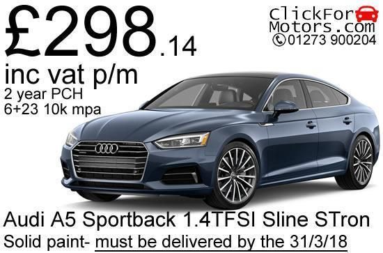 Personal Lease – Audi A5 Sportback 1.4TFSI S-line S-Tronic Valid for Q1 delivery cars only, 2.0TSI cars also available on this deal - call 01273 900204 for details and an amended quote! – Brand new UK spec vehicles – Full manufacturers warranty – FREE delivery to mainland UK addresses – Road tax for term included – Solid paint (metallic paint and other options available at cost - call for details) Finance details* Contract term – 24 months Payment profile – 6   23 Annual mileage – 10,000 Init...