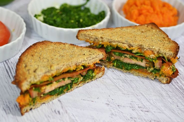 Bacon Seitan Sandwich: delicious! Sweet potato had to cook for over 30 minutes to be soft enough to mash by hand; I toasted bread before putting sandwich in oven, which was unnecessary