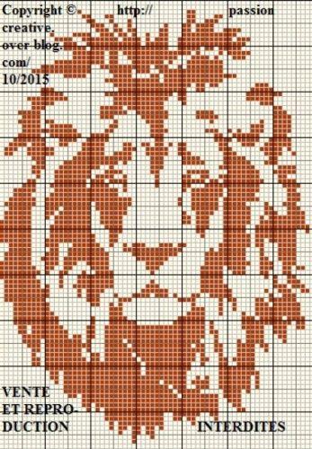 Grille gratuite point de croix : Lion portrait monochrome 1