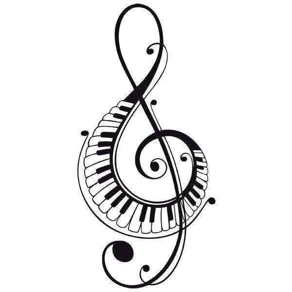 Adesivi Murali: In chiave di violino con tasti di pianoforte
