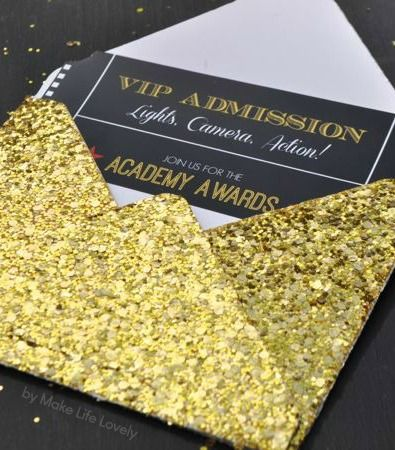 Free Printable Oscar Party Invitations + DIY Gold Glitter Envelopes (Hollywood Party)