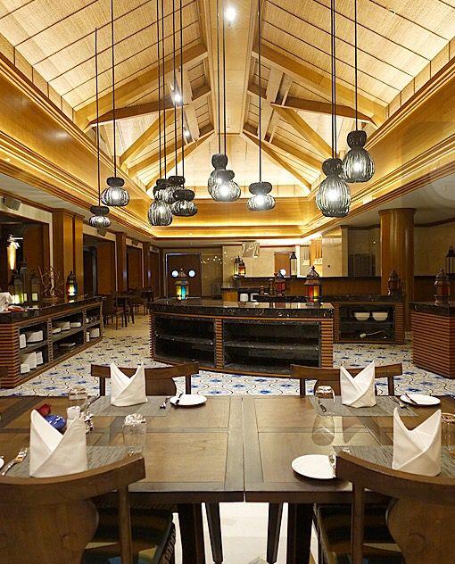 The interior of Puhu Restaurant at night. Padma Ubud. #MilesHumphreysArchitect