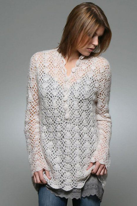 ... Crochet Crafts, Lace Sweater, Crochet Tops, Crochet Patterns, Crochet