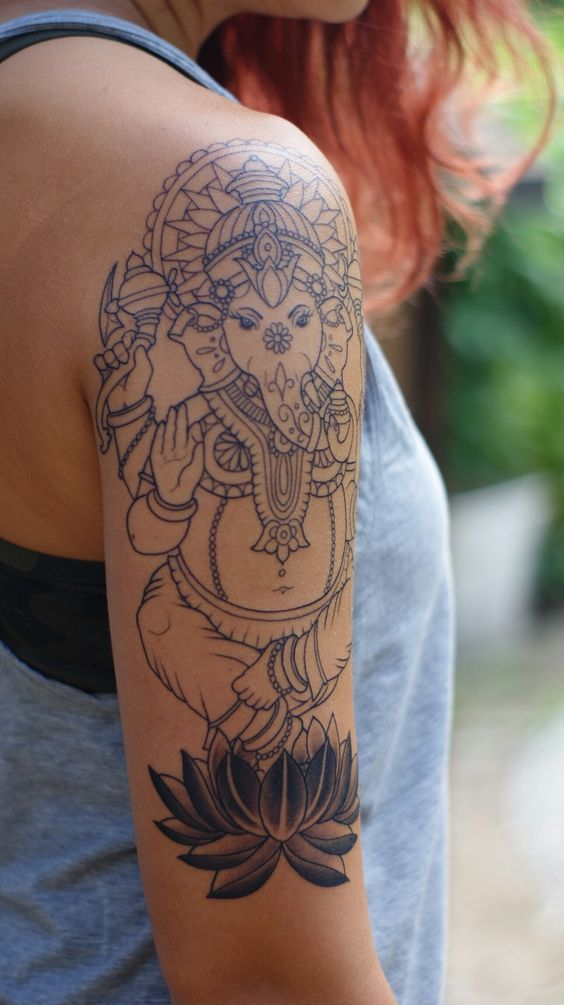 Ganesha tattoo | arm piece pre-shading by Janaya Singer @ Craftsman Tattoos #armtattoosmeaning