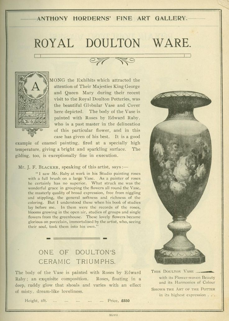 'Royal Doulton Ware' page from an Anthony Hordern & Sons, General catalogue. Image shows text with a vase on the right.