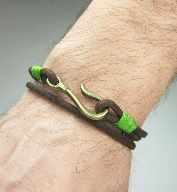 Fish Hook Bracelet in  Brown LeatherGreen by ZEcollection on Etsy
