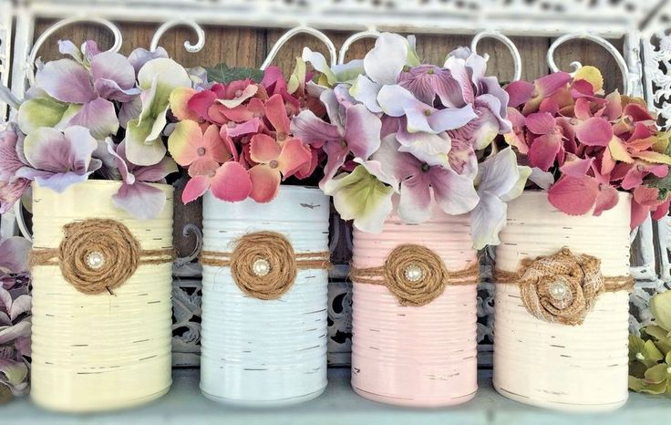 Shabby Chic Vase Painted Tin Cans Rustic Distressed Table Centerpiece Decoration #Handmade #CottageShabbyChicRusticFarmhouseCountry