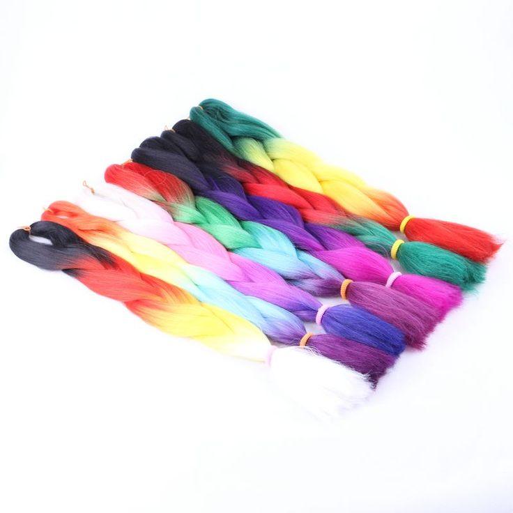 "Luxury For Braiding 7pcs/lot 100g/pc 24"" Two Three Four Tone Ombre Kanekalon Braiding Hair Synthetic Crochet Jumbo Braids"