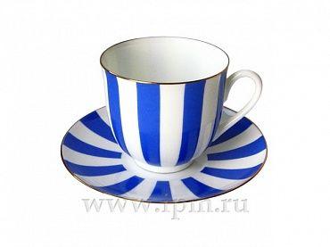 """Чашка с блюдцем кофейная Ландыш """"Да и нет (кобальт)"""" 180 мл арт. 81.16086.00.1"""