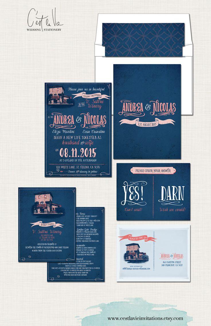 California Winery Navy Blue Coral Wedding by cestlavieinvitations