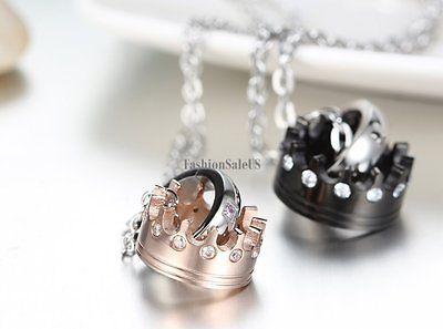 Cz Acero Inoxidable imperial corona Corona Colgante Para Hombre Para Mujer parejas Collar Cadena
