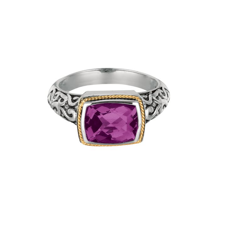 18kt Yellow Gold+Sterling Silver Cushion Amethyst Rock Candy Ring.