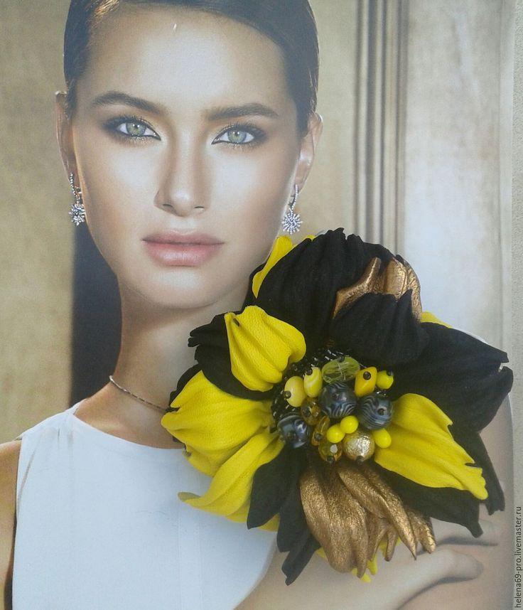 """Купить Брошь из кожи """"Чародейка"""" - разноцветный, золотой цвет, черный, желтый, брошь из кожи"""